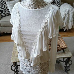 Ultra FEM & SEXY Sheer RUFFLED Boho Blouse